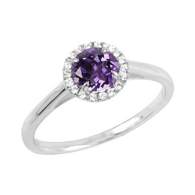 Womens Genuine Purple Amethyst Sterling Silver Round Cocktail Ring