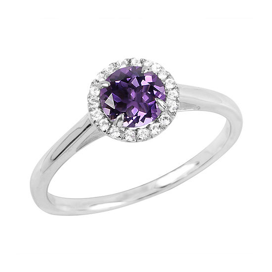 Womens Genuine Purple Amethyst Sterling Silver Round Halo Cocktail Ring