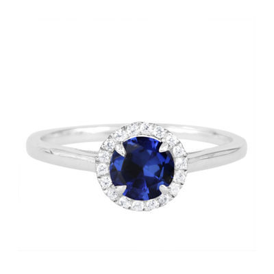 Womens Lab Created Blue Sapphire Sterling Silver Round Cocktail Ring