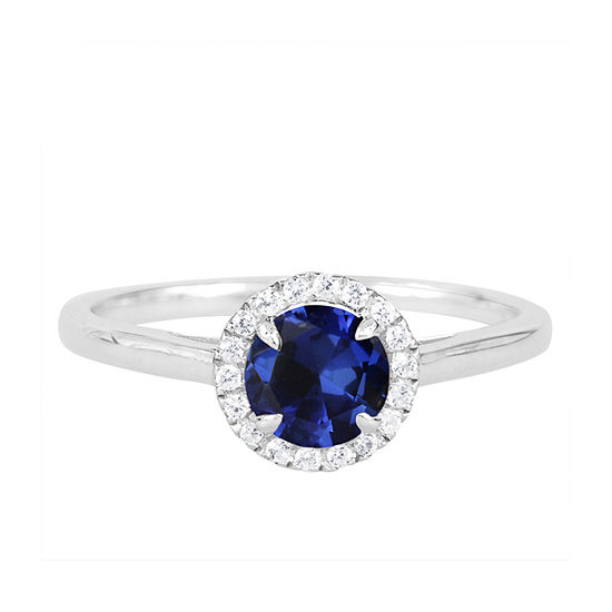 Womens Lab Created Blue Sapphire Sterling Silver Round Halo Cocktail Ring