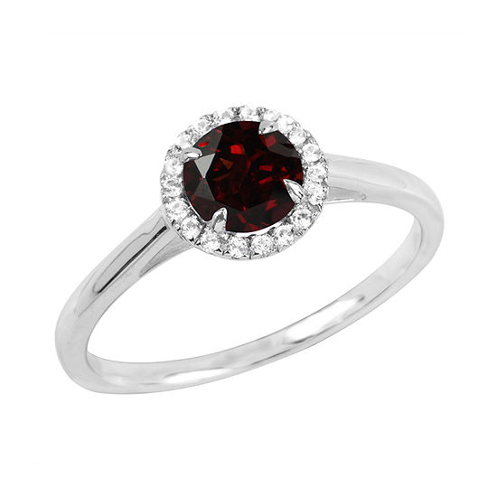 Womens Genuine Red Garnet Sterling Silver Round Halo Cocktail Ring