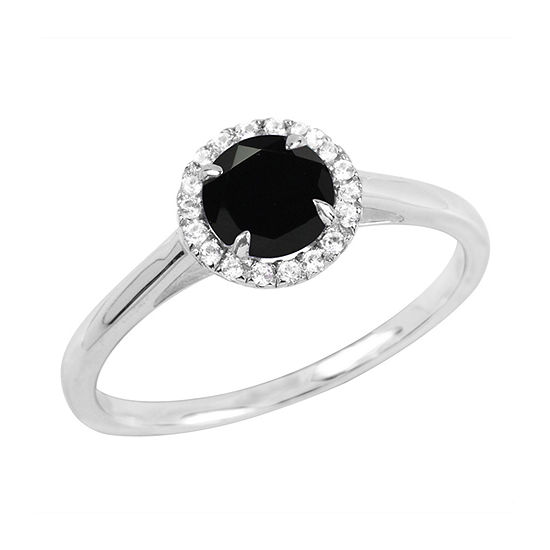 Womens Genuine Black Onyx Sterling Silver Round Halo Cocktail Ring