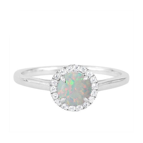 Womens Lab Created White Opal Sterling Silver Round Halo Cocktail Ring