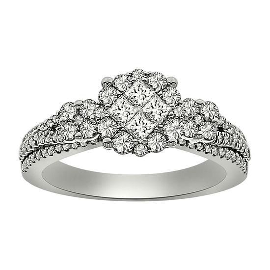 Womens 1 CT. T.W. Genuine White Diamond Platinum Engagement Ring