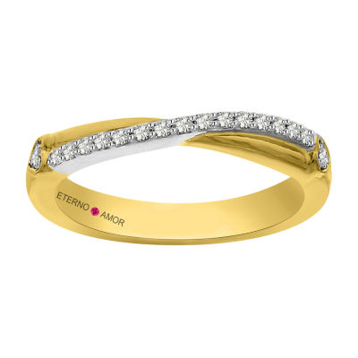 Eterno Amor Womens 1/6 CT. T.W. Genuine White Diamond 14K Gold Band