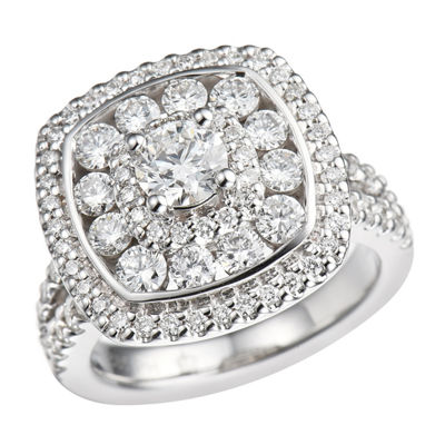 Womens 1 1/2 CT. T.W. Genuine White Diamond 10K Gold Engagement Ring