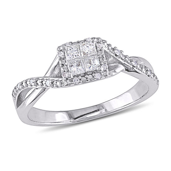 Womens 1/4 CT. T.W. Genuine White Diamond Sterling Silver Engagement Ring