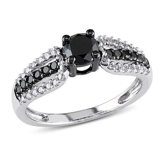 Womens 3 4 Ct Tw Genuine Black Diamond 10k Gold Engagement Ring