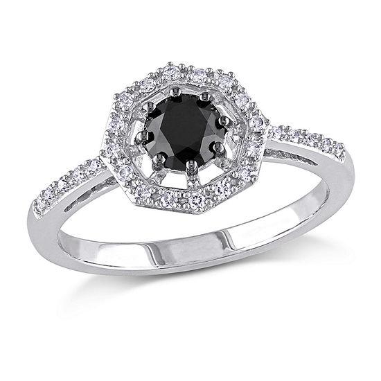 Womens 3/4 CT. T.W. Genuine Black Diamond 10K Gold Engagement Ring