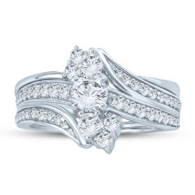 Womens 1 CT. T.W. Genuine Diamond White Bridal Set