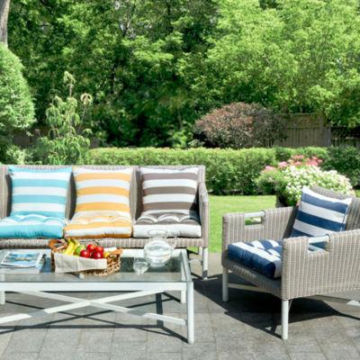 Madison Park Baros Printed Cabana Stripe 3M Scotchgard Outdoor Pillow