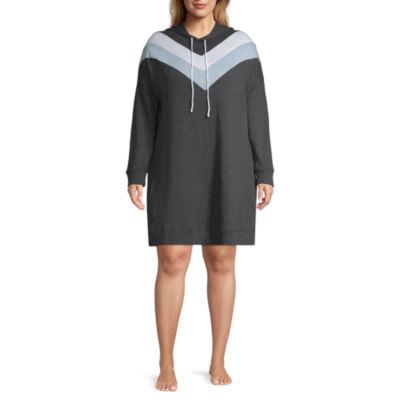 Flirtitude Long Sleeve Sweatshirt Dress-Juniors Plus