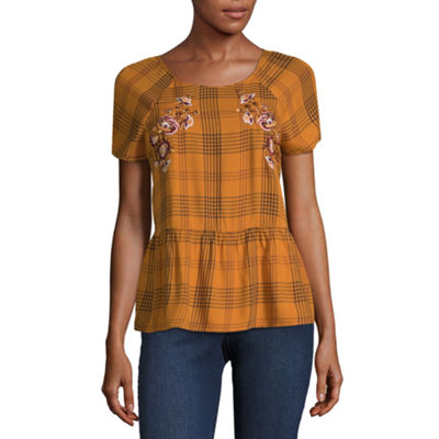 Arizona Womens Round Neck Short Sleeve Plaid Blouse-Juniors