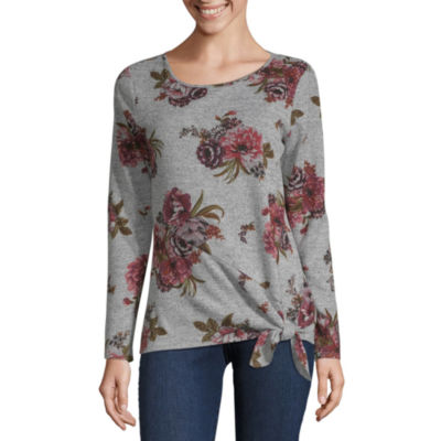 Alyx Womens Round Neck Long Sleeve Floral Pullover Sweater