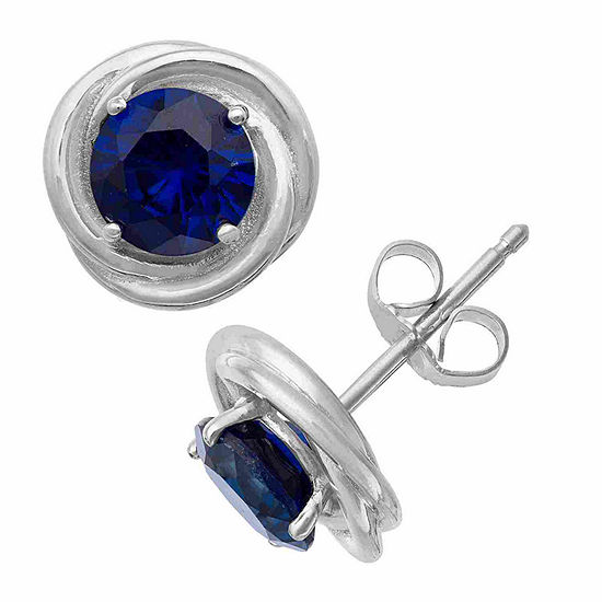 Lab Created Blue Sapphire Sterling Silver 9.5mm Round Stud Earrings