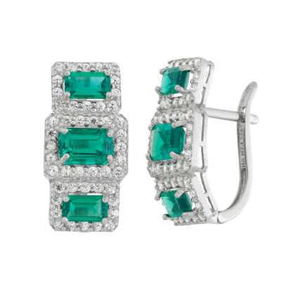 Green Emerald Sterling Silver Rectangular Clip On Earrings