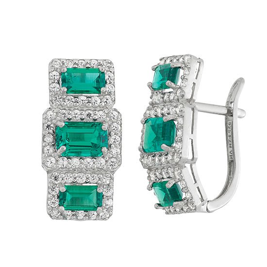 Simulated Green Emerald Sterling Silver Rectangular Clip On Earrings