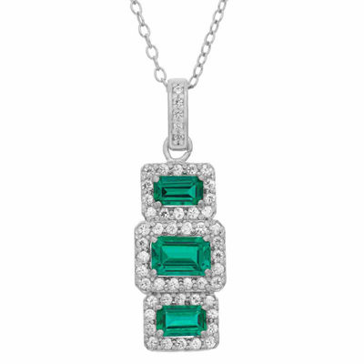 Womens Green Emerald Sterling Silver Rectangular Pendant Necklace