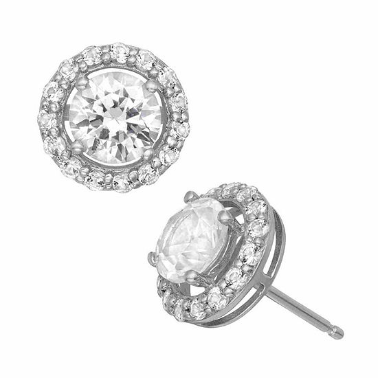 Lab Created White Sapphire Sterling Silver 8mm Round Stud Earrings