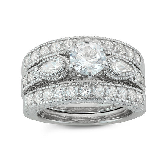 Womens Lab Created White Sapphire Sterling Silver Round Stackable Ring