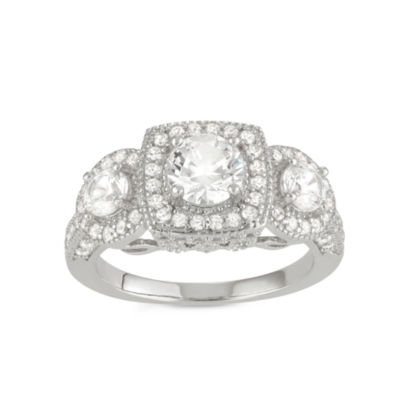 Womens White Sapphire Sterling Silver Round Cocktail Ring
