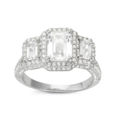 Womens White Sapphire Sterling Silver Rectangular Cocktail Ring