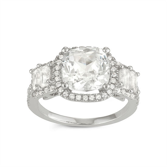 Womens Lab Created White Sapphire Sterling Silver Square Cocktail Ring