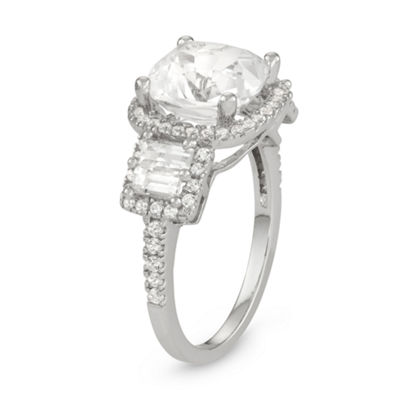Womens White Sapphire Sterling Silver Square Cocktail Ring
