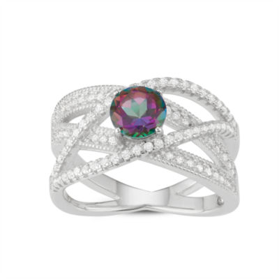Womens Genuine Mystic Fire Topaz Sterling Silver Band