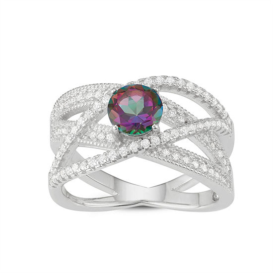 Womens Genuine Mystic Fire Topaz Sterling Silver Cocktail Ring