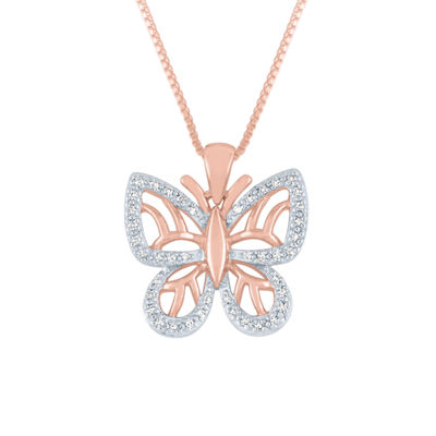 Womens 1/10 CT. T.W. Genuine White Diamond 14K Rose Gold Over Silver Butterfly Pendant Necklace