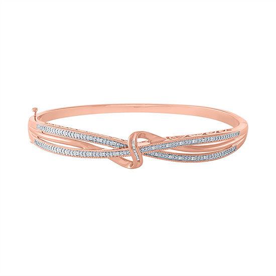 1/10 CT. T.W. Genuine Diamond 14K Rose Gold Over Silver Bangle Bracelet