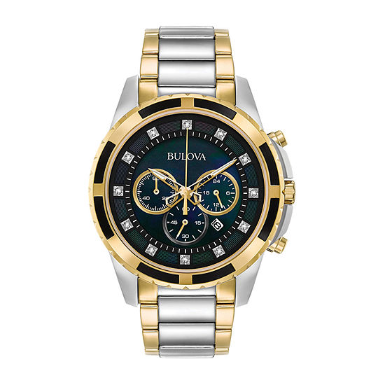 Bulova Classic Mens Chronograph Two Tone Stainless Steel Bracelet Watch-98d132
