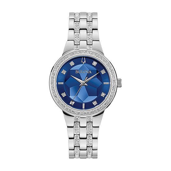Bulova Phantom Womens Diamond Accent Silver Tone Stainless Steel Bracelet Watch-96l276
