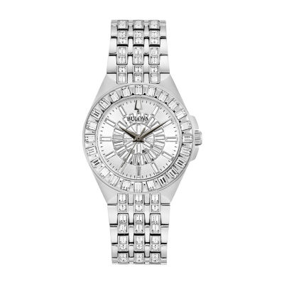 Bulova Phantom Womens Crystal Accent Silver Tone Stainless Steel Bracelet Watch - 96l278