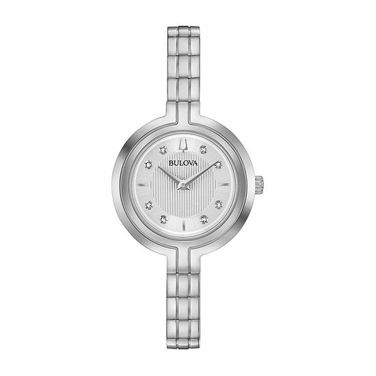 Bulova Rhapsody Womens Diamond Accent Silver Tone Stainless Steel Bracelet Watch-96p214