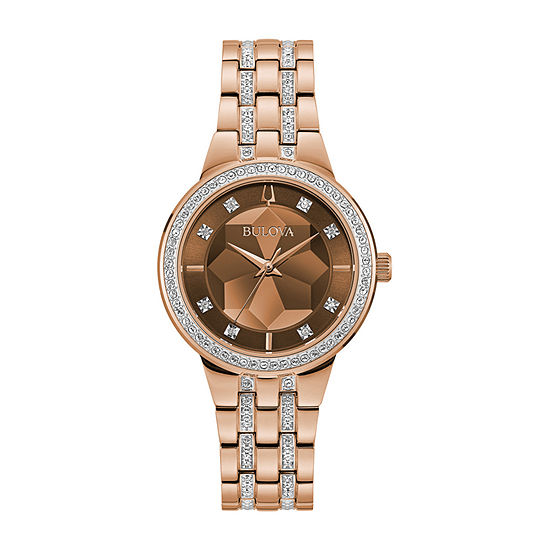 Bulova Phantom Womens Crystal Accent Rose Goldtone Stainless Steel Bracelet Watch-98l266