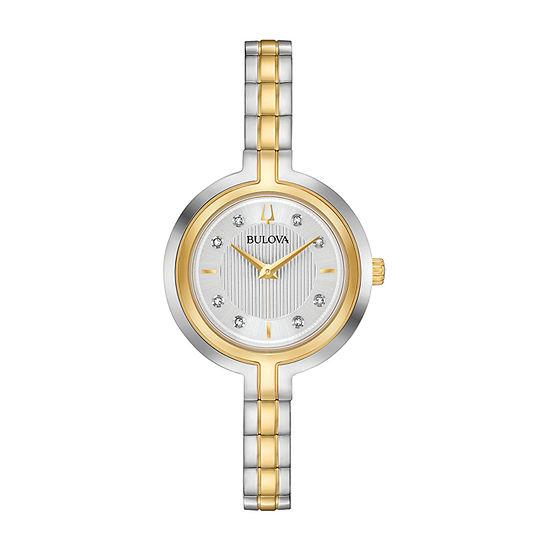 Bulova Rhapsody Womens Diamond Accent Two Tone Stainless Steel Bracelet Watch-98p193
