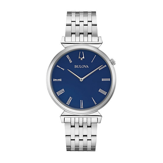 Bulova Regatta Mens Silver Tone Stainless Steel Bracelet Watch - 96a233