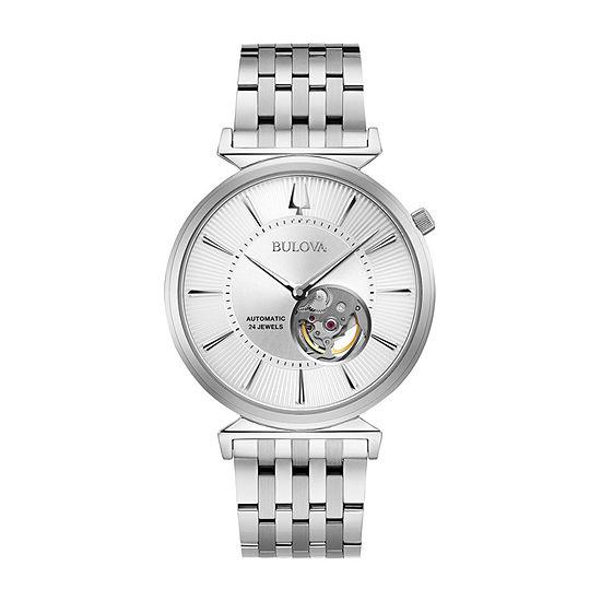 Bulova Regatta Mens Automatic Silver Tone Stainless Steel Bracelet Watch-96a235