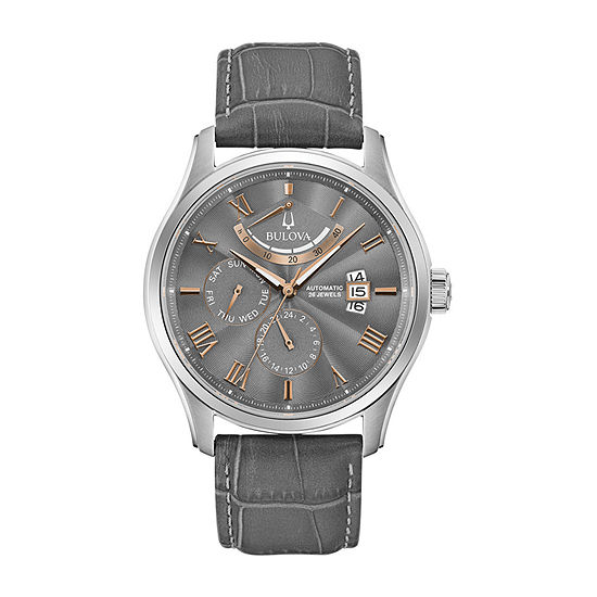 Bulova Wilton Mens Automatic Gray Leather Strap Watch-96c143