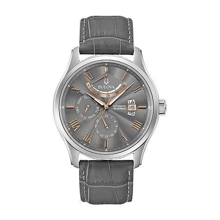 Bulova Wilton Mens Automatic Gray Leather Strap Watch 96c143, One Size