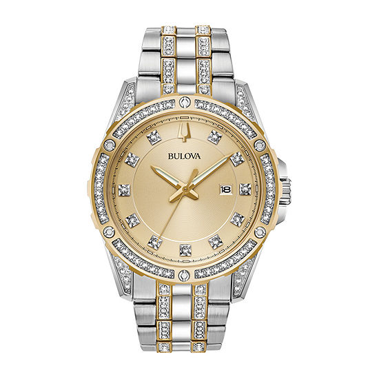 Bulova Mens Crystal Accent Two Tone Stainless Steel Watch Boxed Set-98k106