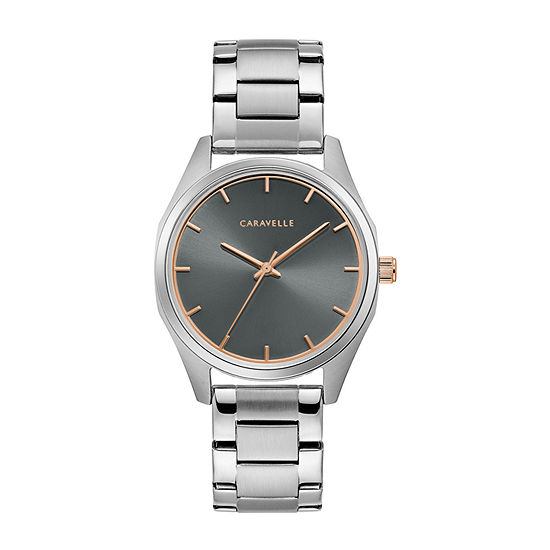 Caravelle Designed By Bulova Womens Silver Tone Stainless Steel Bracelet Watch-45l178