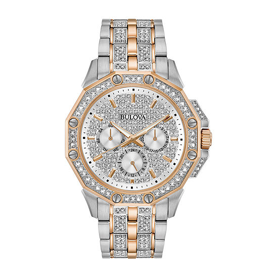 Bulova Octava Mens Crystal Accent Two Tone Stainless Steel Bracelet Watch - 98c133