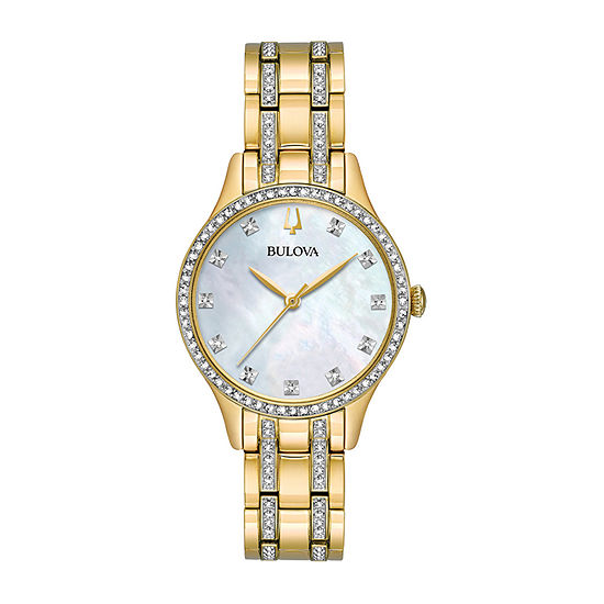 Bulova Crystal Womens Crystal Accent Gold Tone Stainless Steel 2-pc. Watch Boxed Set-98x119