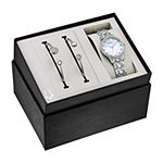 Bulova Crystal Womens Crystal Accent Silver Tone Stainless Steel 2-pc. Watch Boxed Set-96x145