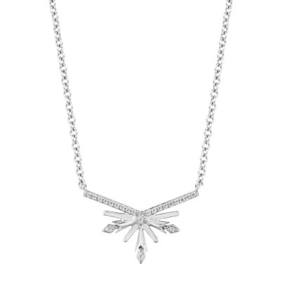 "Enchanted Disney Fine Jewelry ""Frozen 2"" Womens 1/10 CT. T.W. Genuine Diamond Sterling Silver Snowflake Frozen Pendant Necklace"