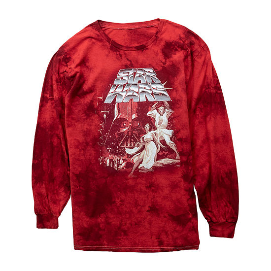 Mens Crew Neck Long Sleeve Star Wars Graphic T-Shirt