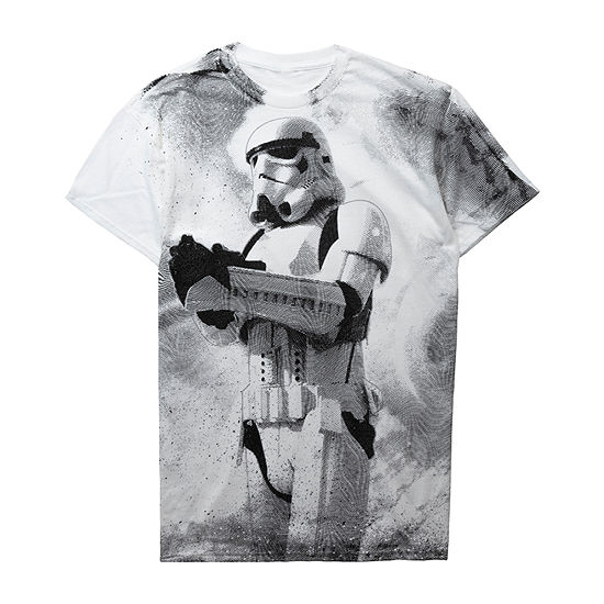 Mens Crew Neck Short Sleeve Star Wars Graphic T-Shirt